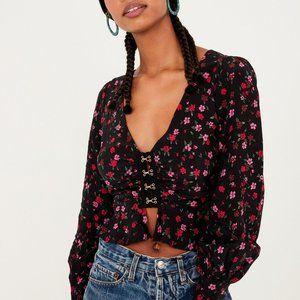 For Love & Lemons Isabella Black Floral Ruched Top